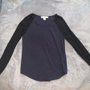 French Connection Black and Navy Long Sleeve Top